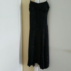 Alyn Paige black dress with siver sparkle dots